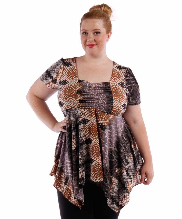 NEW! WOMEN S PLUS SIZE CLOTHING GRAY & BROWN BABYDOLL STYLE BLOUSE 4X