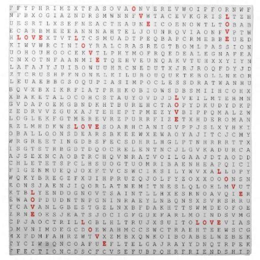 Word Search Puzzle LOVE Napkin