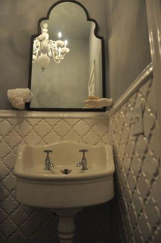beveled arabesque tile ivory