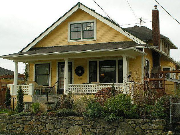 Yellow bungalow exterior bungalow paint colors pinterest for Exterior yellow house paint
