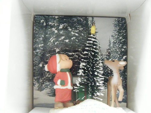 Hallmark Vtg XMAS Tree Ornament 1981 Boy Tree Deer outdoor scene