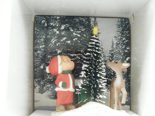 Hallmark Vtg XMAS Tree Ornament 1981 Boy Tree Deer outdoor scene