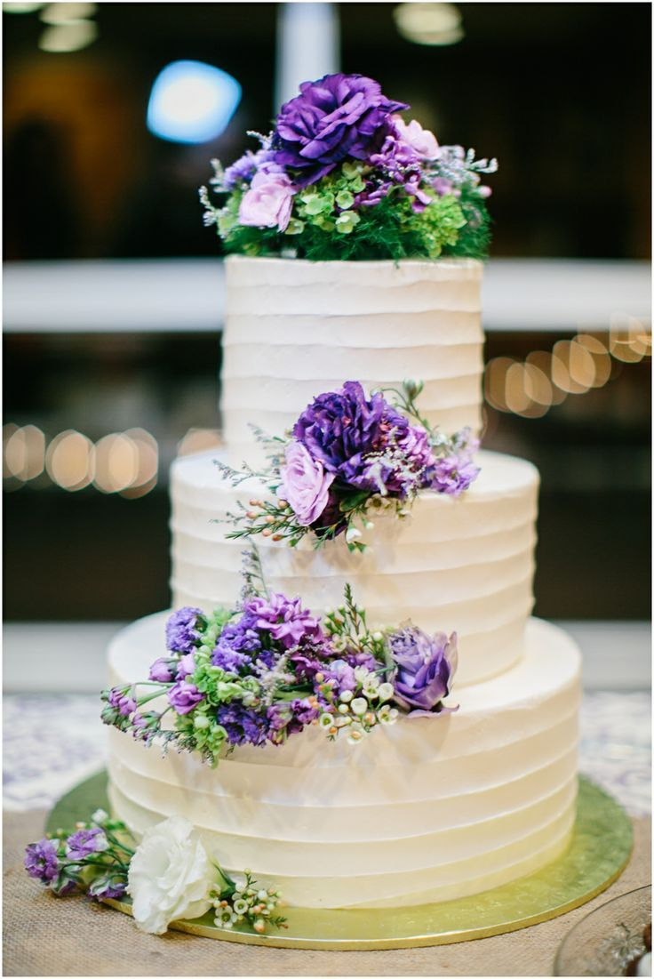 Wedding Cake Ideas With Purple Flowers To Steal For Your