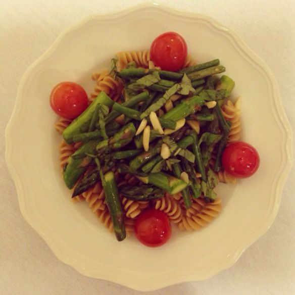 ... with Sizzled Green Beans, Asparagus, Tomatoes, and Almonds {vegan