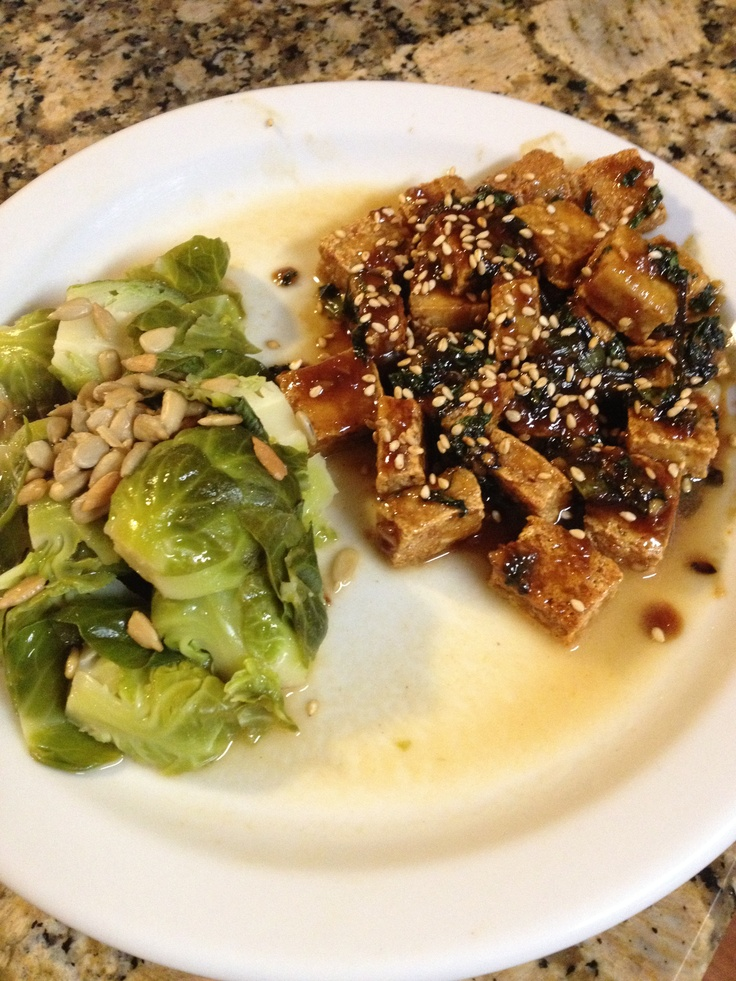 Sesame Tofu Caramelized with Agave Nectar and Aminos, Brussels Sprouts ...