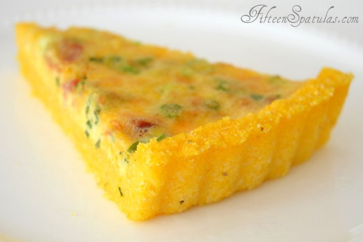 Bacon Cheddar Scallion Breakfast Tart with Grits Crust   Recipe