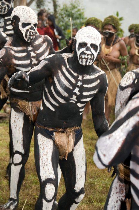 Papua New Guinea |  Skeleton Men from Arvi Village, Enga Province | © Daniel Nadler