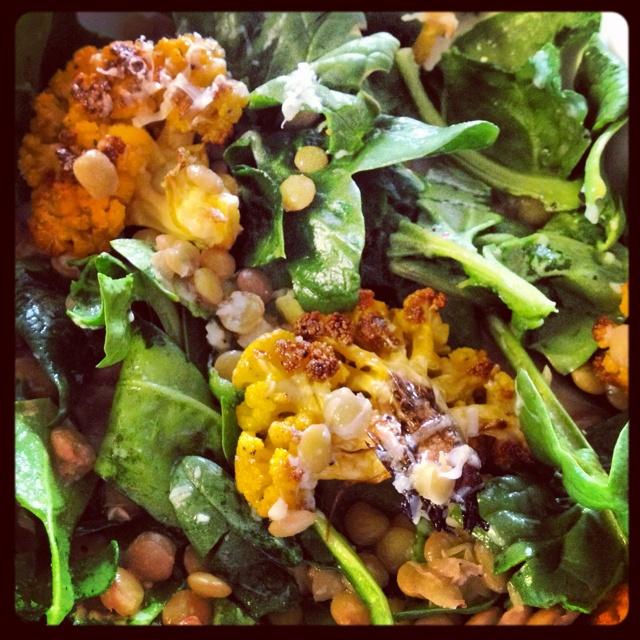 lentil salad - greens, roasted cauliflower, lentils, red onion, feta ...
