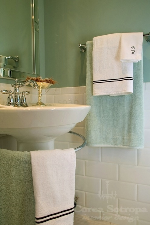 design spa like bathroom with seafoam green paint color subway