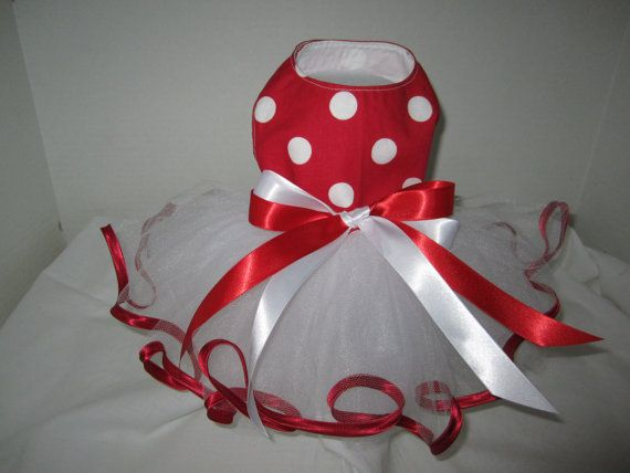 Dog Tutu XS  Red   With White Polka Dots  By by NinasCoutureCloset, $30.00
