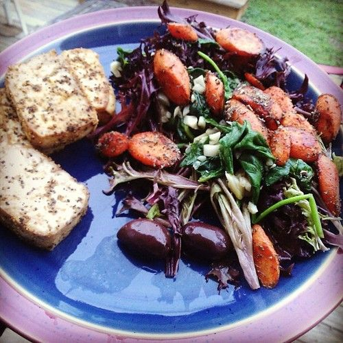... Triangle, Lemon Pepper Tofu with sauteed greens and carrots. #vegan