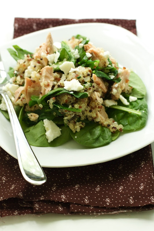 Salmon Quinoa Salad: 1c quinoa; 8-12 oz frozen or canned salmon, S ...