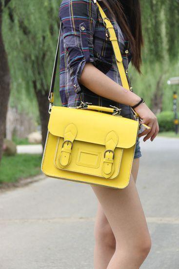 Handmade Genuine Leather Satchel / Messenger Bag / Backpack in Yellow