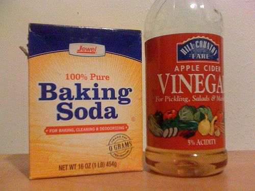 Use baking soda and vinegar to unclog a drain.
