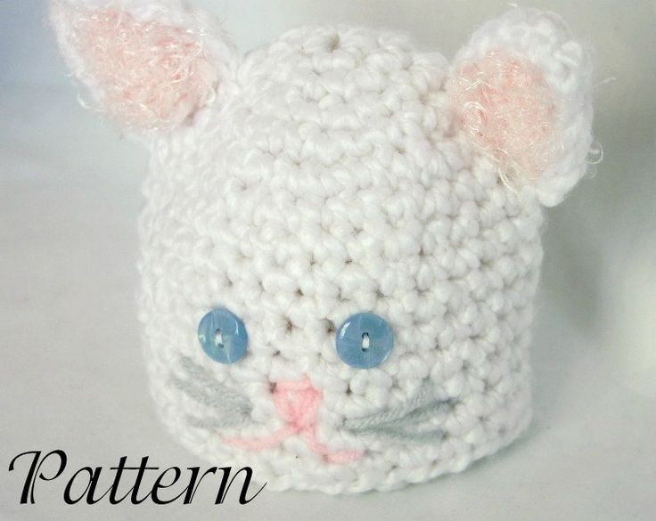 Newborn Crochet Cat Hat Pattern : Baby cat hat PDF crochet pattern 0-6 month newborn beanie ...