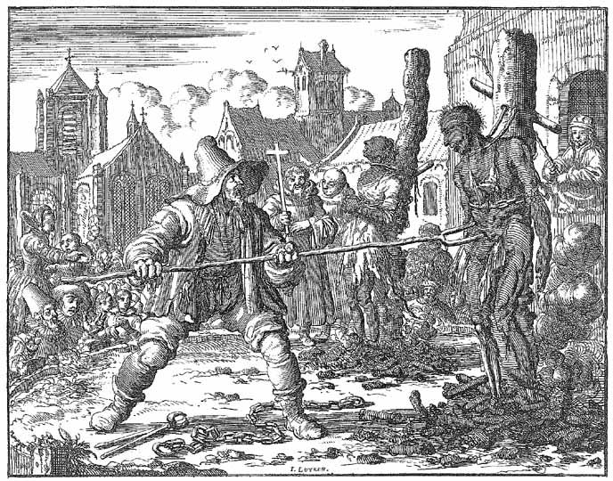 Execution of Mennonites  This engraving depicts the execution of David van der Leyen and Levina Ghyselins, described variously as Dutch Anabaptists or Mennonites, by Catholic authorities in Ghent in 1554. Strangled and burned, van der Leyen was finally dispatched with an iron fork. Bracht's Martyr's Mirror is considered by modern Mennonites as second only in importance to the Bible in perpetuating their faith.
