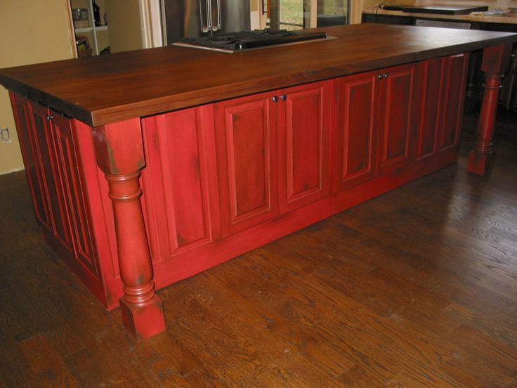 Red Faux Painted Island  Kitchen Island Redo Ideas  Pinterest