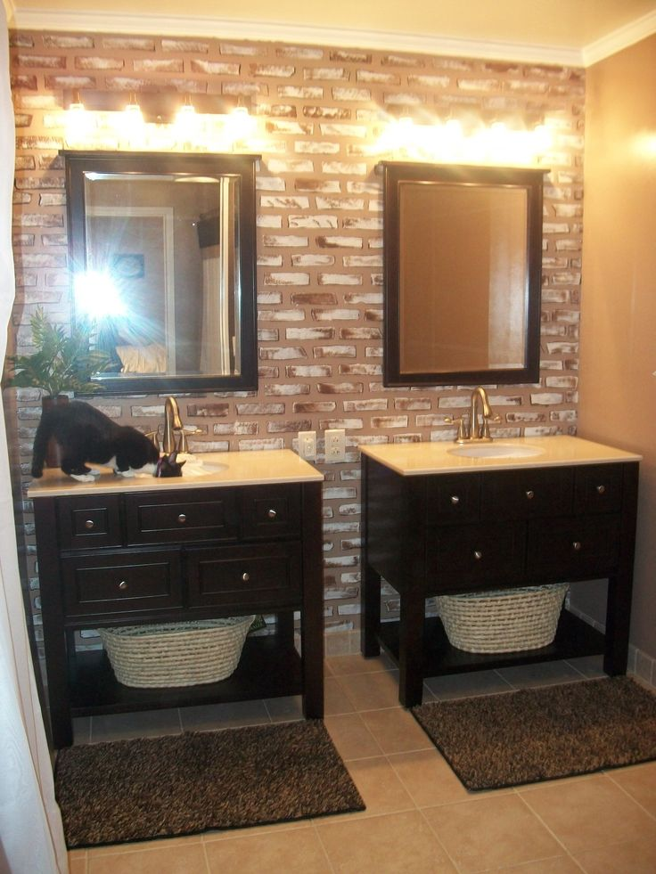 Separate Double Vanity Keeps Husband 39 S Mess Contained And Off My Side For The Home Pinterest
