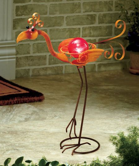 Flamingo stand solar power lighted metal garden bird for Garden decking ornaments