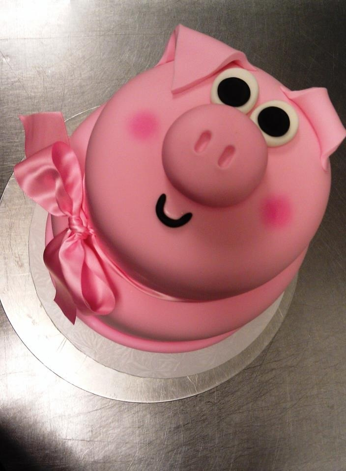 Pig Cake ... Love the pink bow! | Happy birthday to you ...