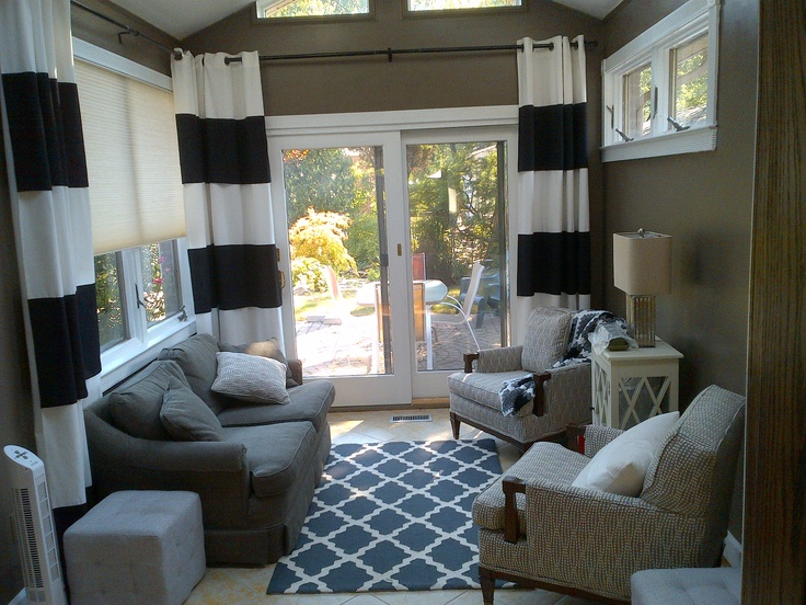 Sunroom curtain ideas curtaining treatments pinterest for Window covering ideas for sunrooms