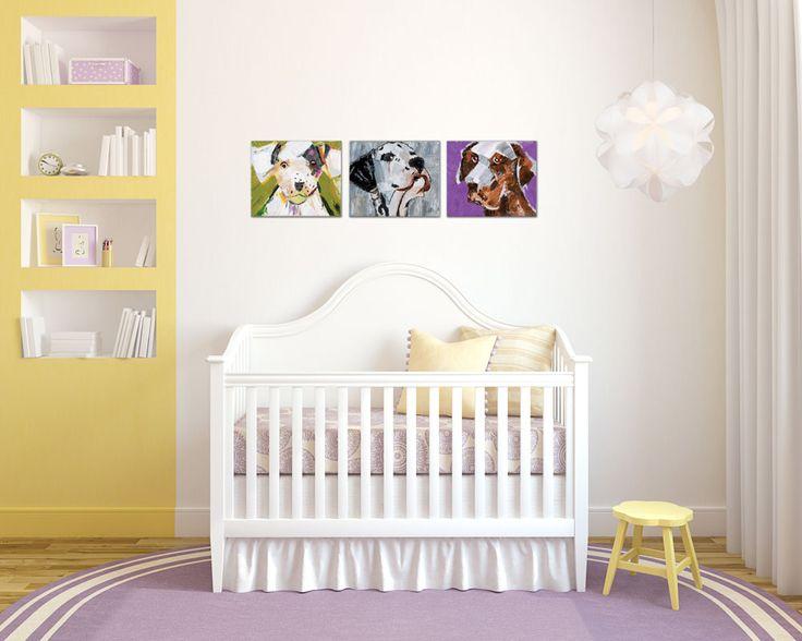 Chambre de bébé de style #transitionnel avec #suspendu et #tableau