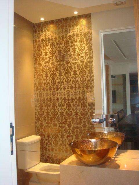 decoracao de ambientes lavabo:Lavabo com cuba dourada.