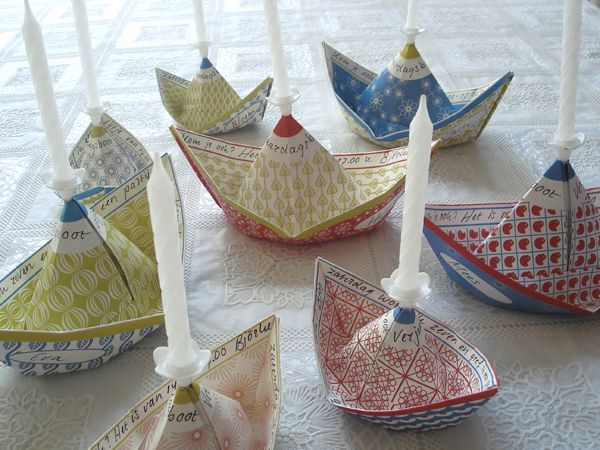 Paper boat candles