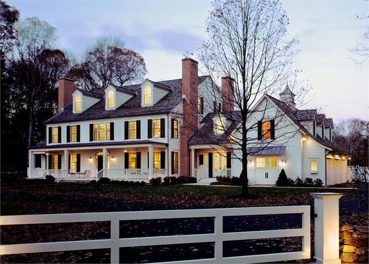 Colonial exterior front dusk lighting farmhouse style for Colonial exterior lighting