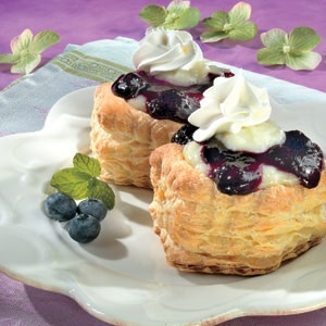 ... cream and a lemon-blueberry sauce to create these delicate individual