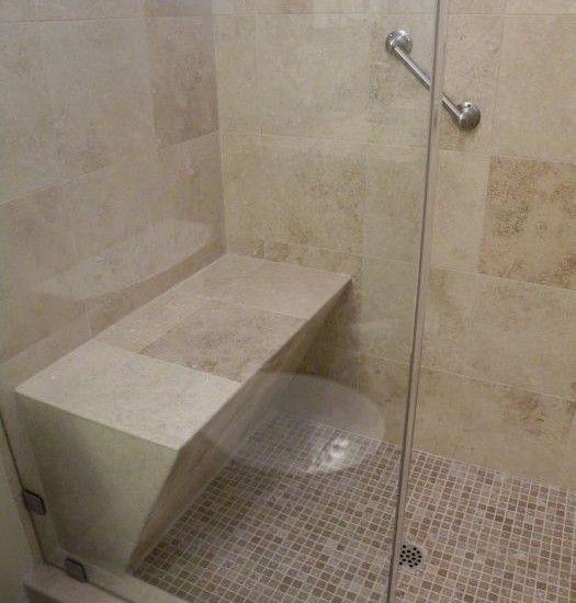 add a bench to your walk in shower doorless shower pinterest. Black Bedroom Furniture Sets. Home Design Ideas