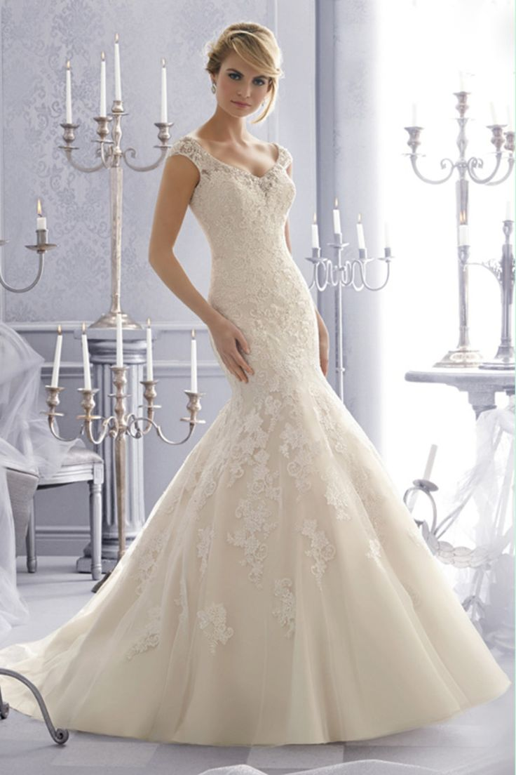 2014 Wedding Dresses V Neck Trumpet/Mermaid Chapel Train Tulle With Applique And Beads