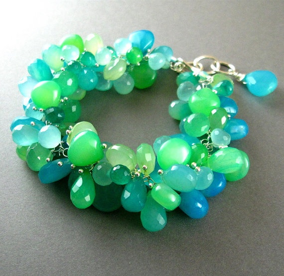 Aqua and Turquoise Chalcedony Cluster Sterling by SurfAndSand, $325.00