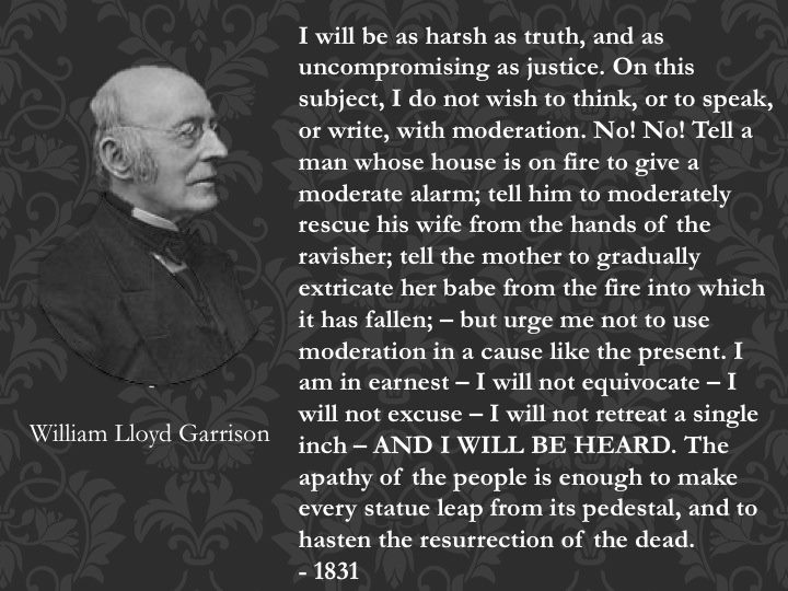 an in depth analysis of william lloyd garrisons doctrinaire approach Much of this doctrinaire approach by garrison was difficult at times for other abolitionists to follow, particularly black   in the 1830 s there are many black abolitionists attracted to william lloyd garrison, even attracted to this pacifist persuasion.
