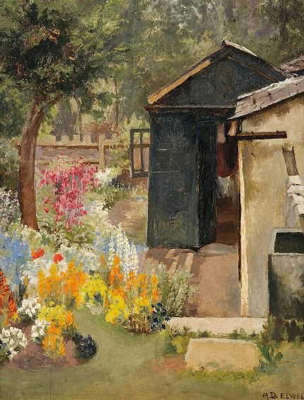 Mary Dawson Elwell  View of a Summer Garden with Shed  1914 #art #kunst