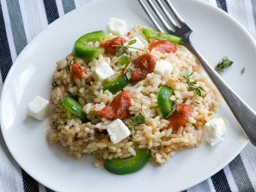 Lemon Rice with Zucchini, Roasted Peppers and Feta Cheese | Diet.com ...
