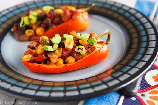 Chili-Stuffed Peppers (They are Vegan and SO GOOD)