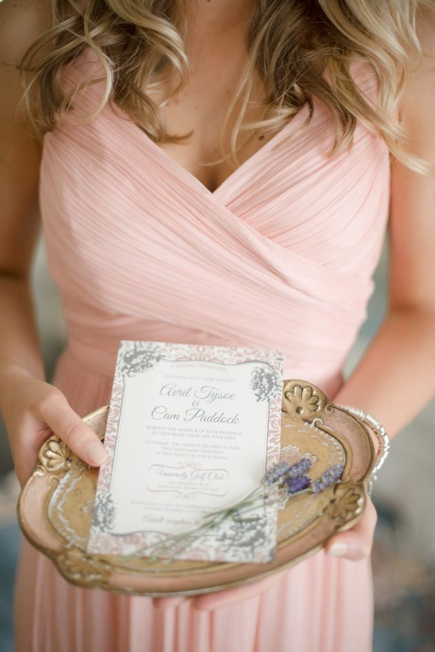 beautiful blush pink bridesmaid's dress & wedding invite / Christie Graham Photography