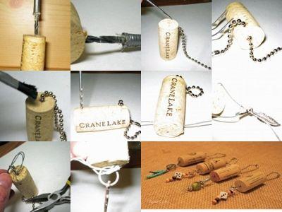 Beaded Wine Cork Keychains
