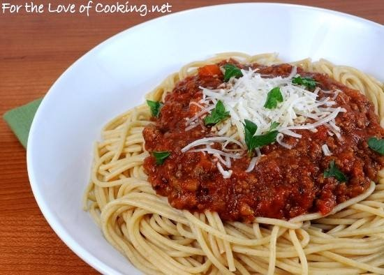 Whole wheat spaghetti with a slow simmered meat sauce...