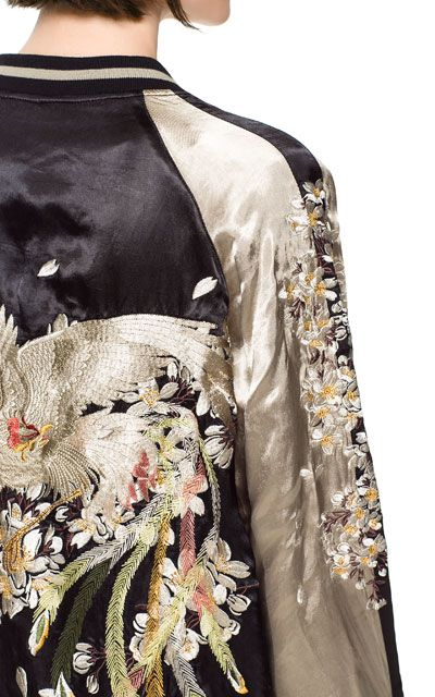 Embroidered bomber jacket zara asian influence pinterest
