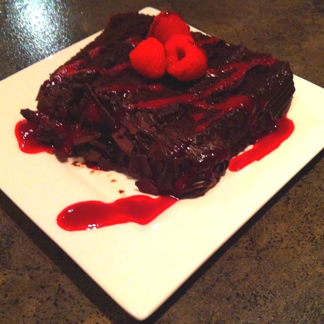 Double chocolate cake w/ raspberry purée | Yum | Pinterest