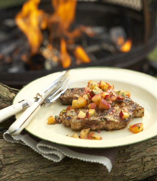 Grilled Latin-Style Pork with Peach-Chipotle Salsa | Recipe