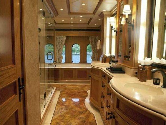 Rich looking wood paneled bathroom no boring bathroom here pinter - Amazing bathroom ...