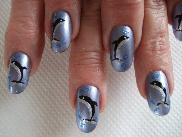 Dolphin nail art | Nail Art | Pinterest