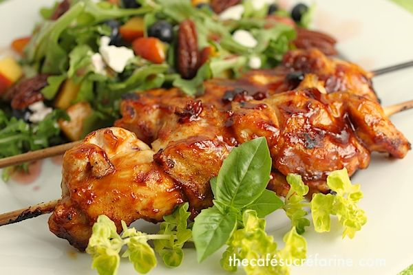 Fabulous Grilled Chicken Kebabs, from Café Sucre Farine. Looks like a ...