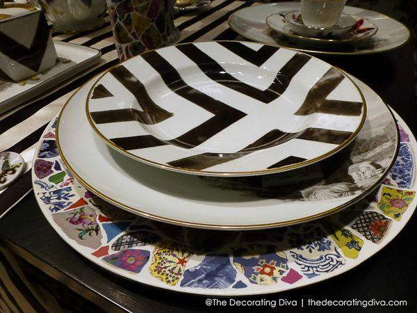 Christian Lacroix Maison Stripes & Collage Dinnerware for Vista Alegre 1824