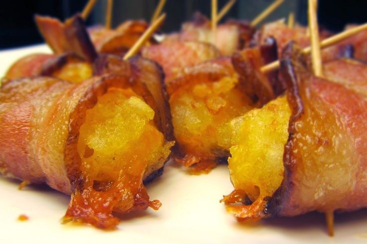 Bacon-wrapped cheddar-filled tater tots from Bacon Today - yowzah!