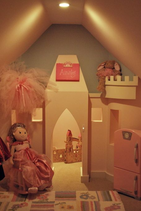 pink princess closet complete with a castle and working doorbell