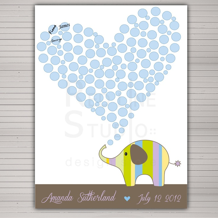 baby shower guest book alternative printable diy cute elephant 80